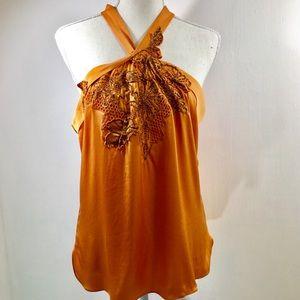 Elie Tahari Halter Embellished Orange Silk Top M